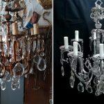 restauro lampadario prima e dopo